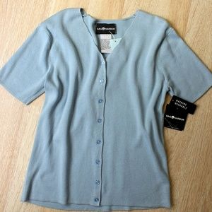 Blue Ribbed Stretch Knit Cardigan or Top NWT